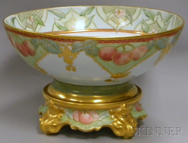 Gilt and Hand-painted Cherries and Floral-decorated Limoges Porcelain Punch Bowl on   Stand