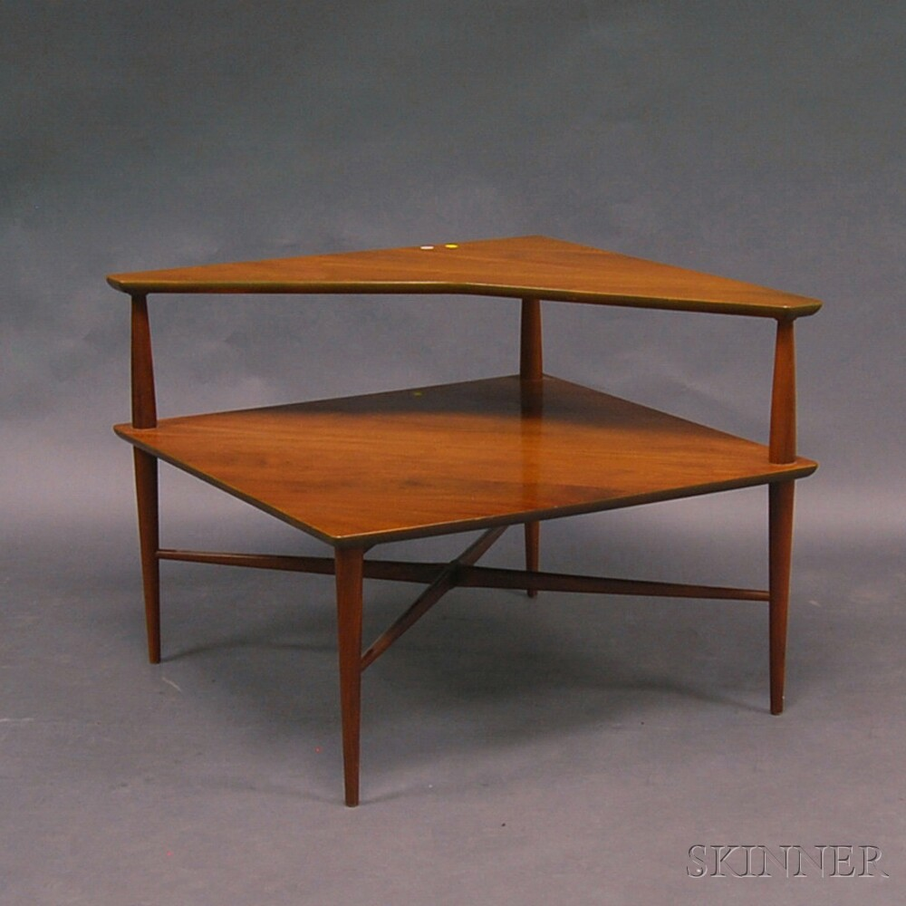 Heritage Henredon Walnut Two Tier Corner Table