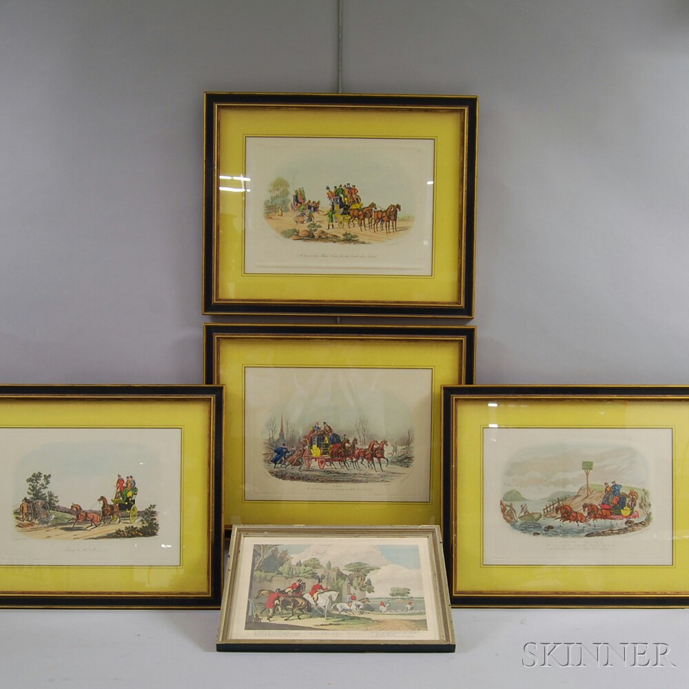 Five Assorted Hand-colored Framed Sporting Prints