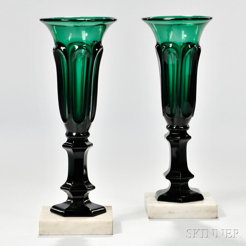 Pair of Emerald Green Pressed Loop Pattern Vases