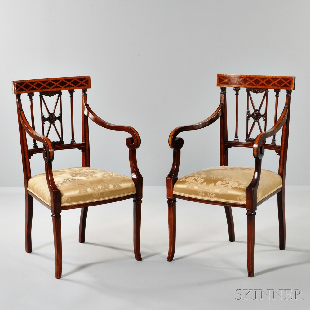 Two Regency-style Mahogany and Satinwood Inlaid Armchairs