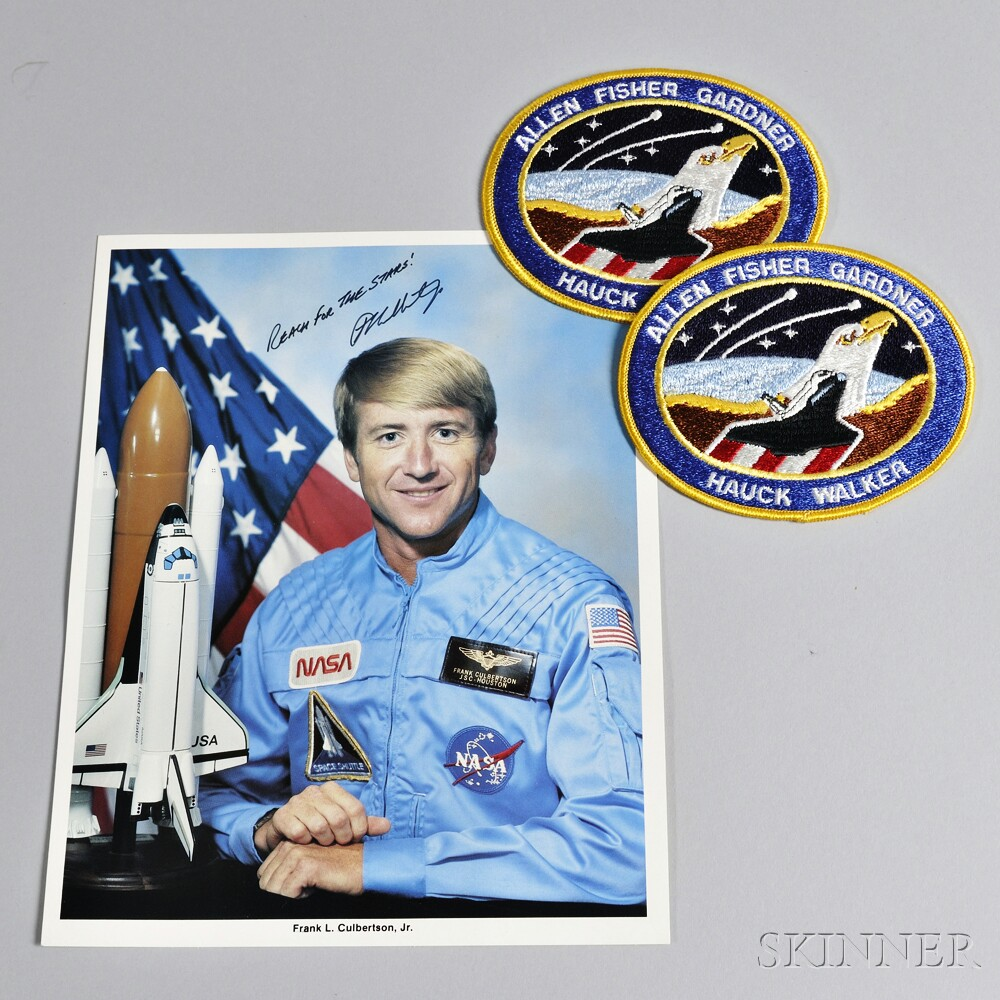 "Signed and Inscribed Photograph of Astronaut Frank L. Culbertson, and two ""Allen Fisher Gardner Hauck Walker"" Space Shuttle Patches"