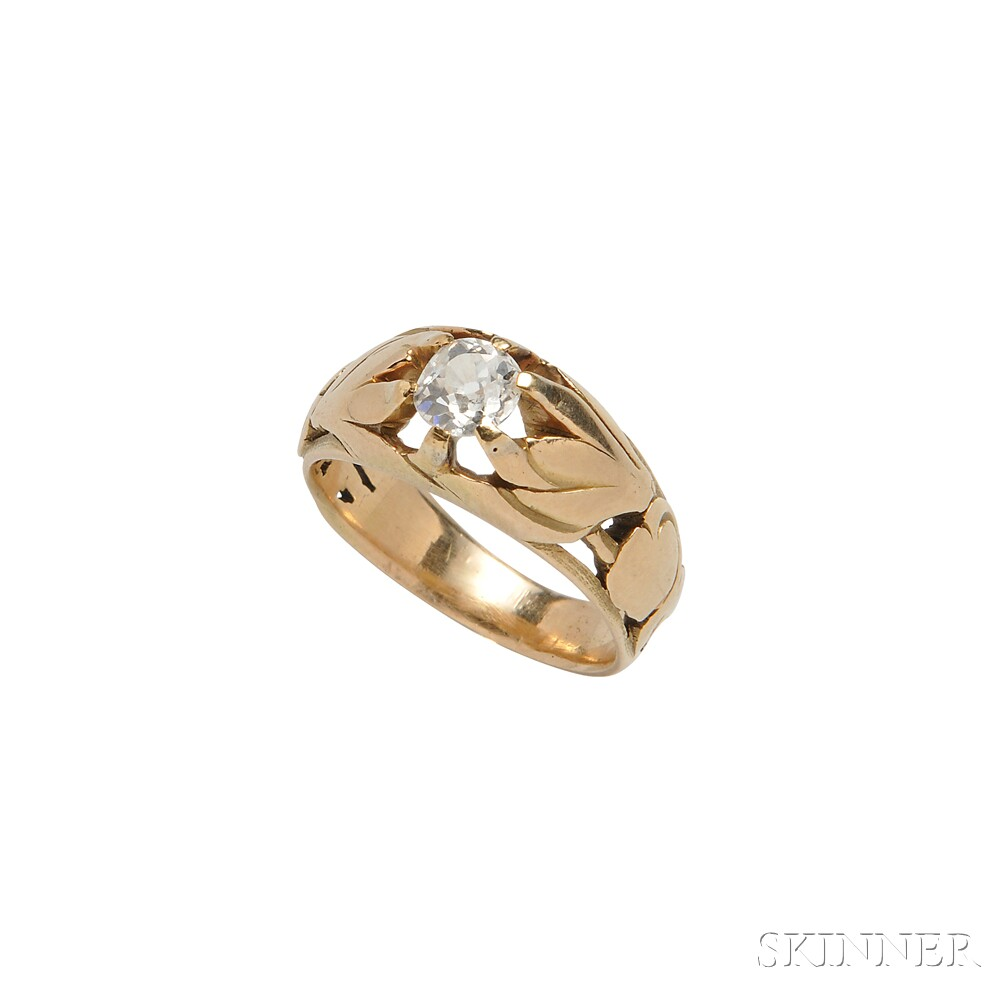 Art Nouveau Gold and Diamond Ring
