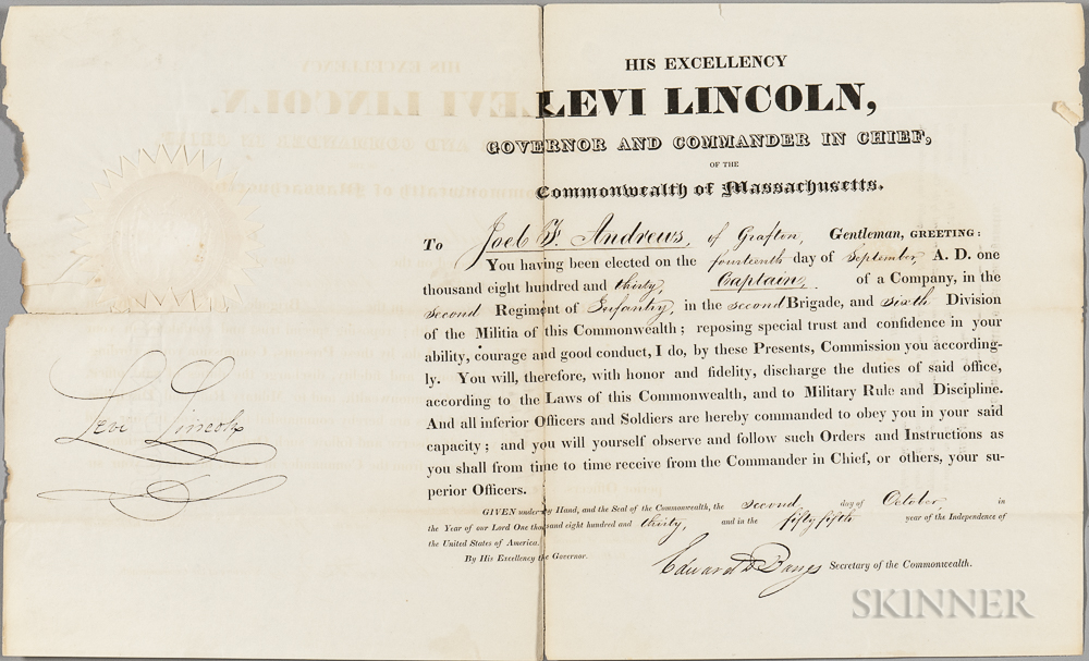 Lincoln, Levi (1749-1820) Four Signed Documents, 1829-1830.