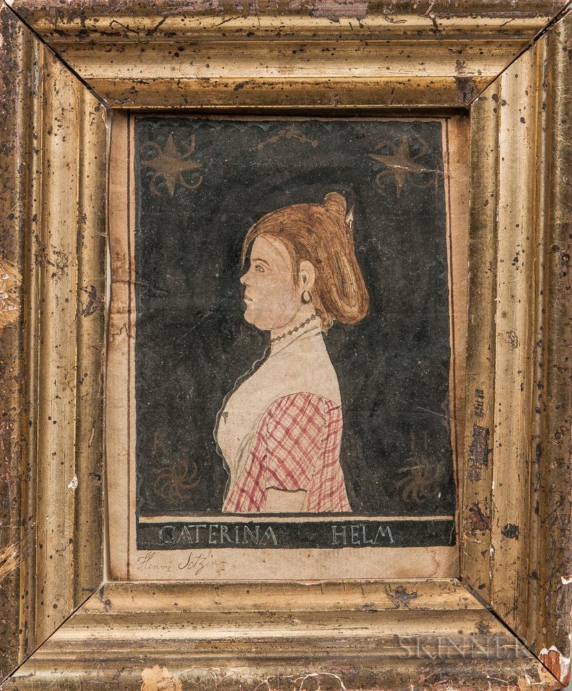 Henry Lotzin (American, 19th Century)      Profile Portrait of Caterina Helm