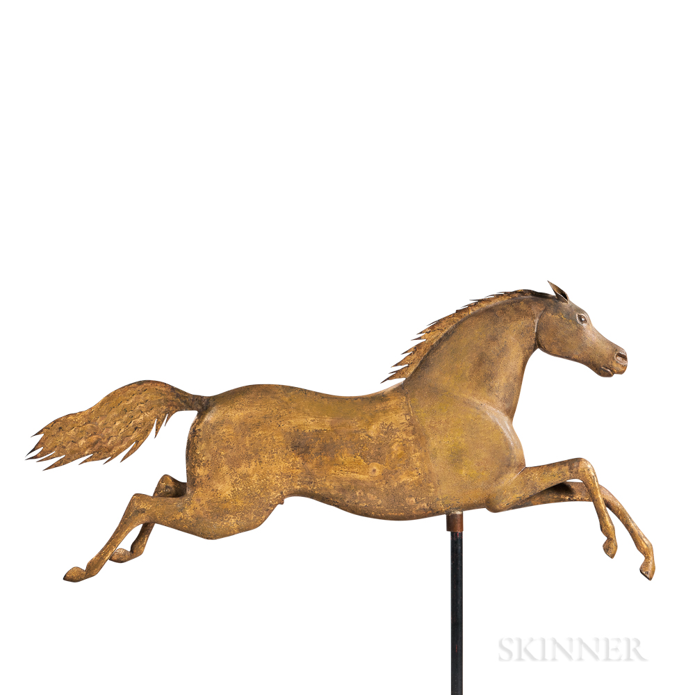 Fine Gilt Molded Copper and Cast Zinc Running Horse Weathervane