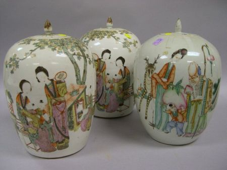 Pair of Chinese Export Porcelain Covered Jars and a Single Chinese Export Porcelain Covered Jar.