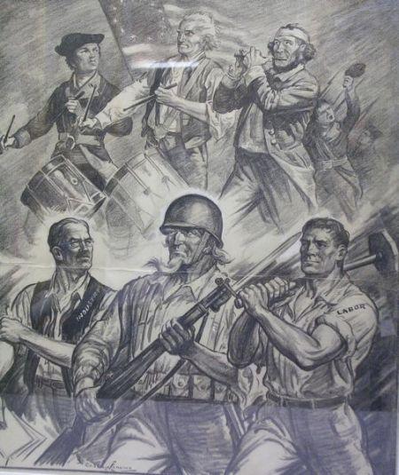 Framed Burris Jenkins WWII Era Political Cartoon Illustration