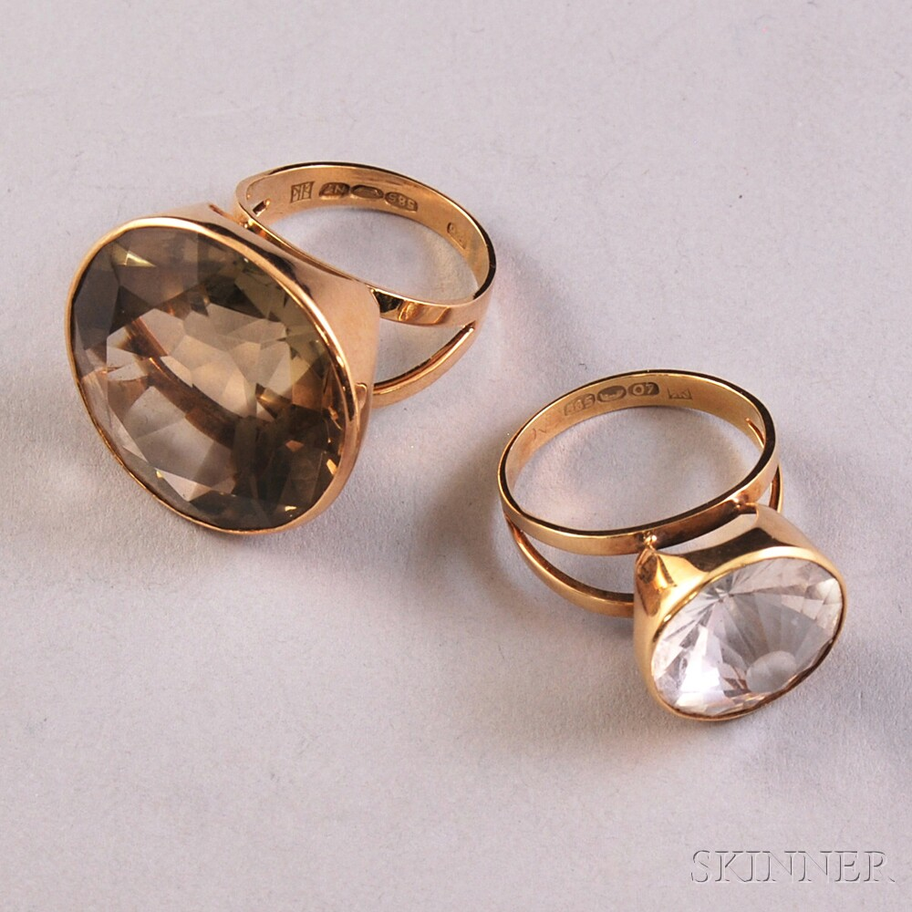 Two Kalevala Koru 14kt Gold and Quartz Rings