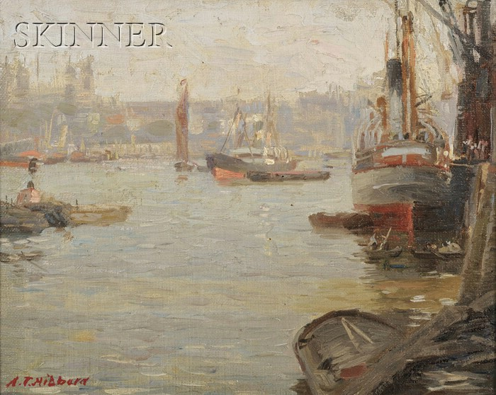 Aldro Thompson Hibbard (American, 1886-1972)      Harbor View with Tugboats