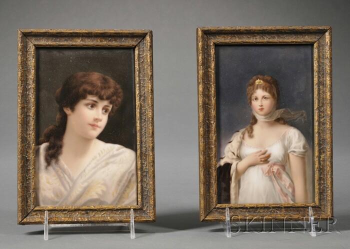 Two Hand-painted Porcelain Portrait Plaques