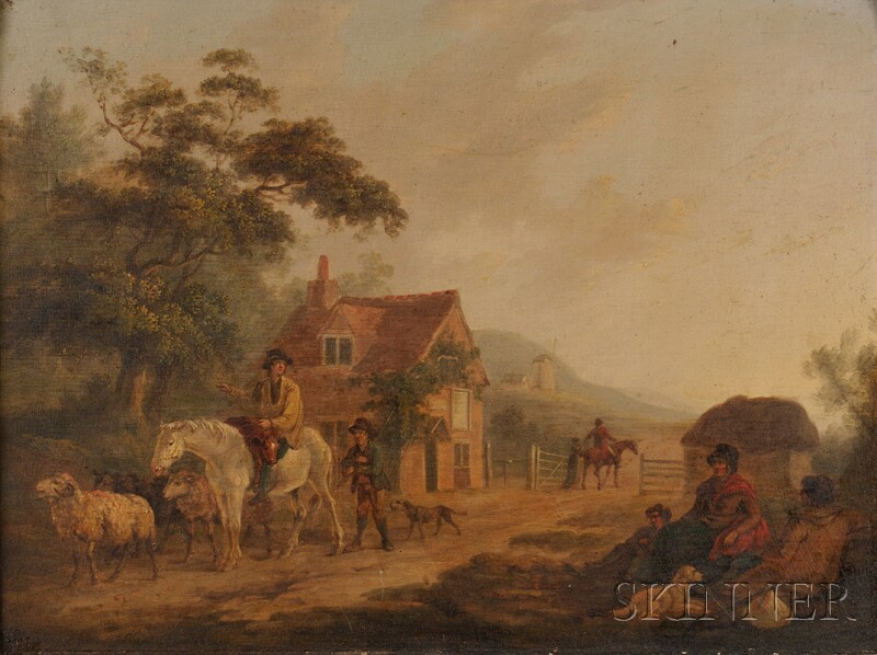 Continental School, 19th Century      Country Landscape with Figures and Livestock and a Distant Windmill
