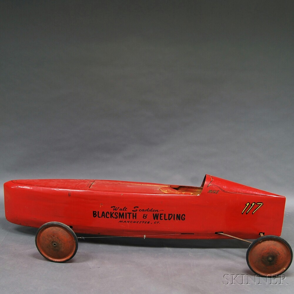 Red-painted And Stenciled Soap Box Derby Car