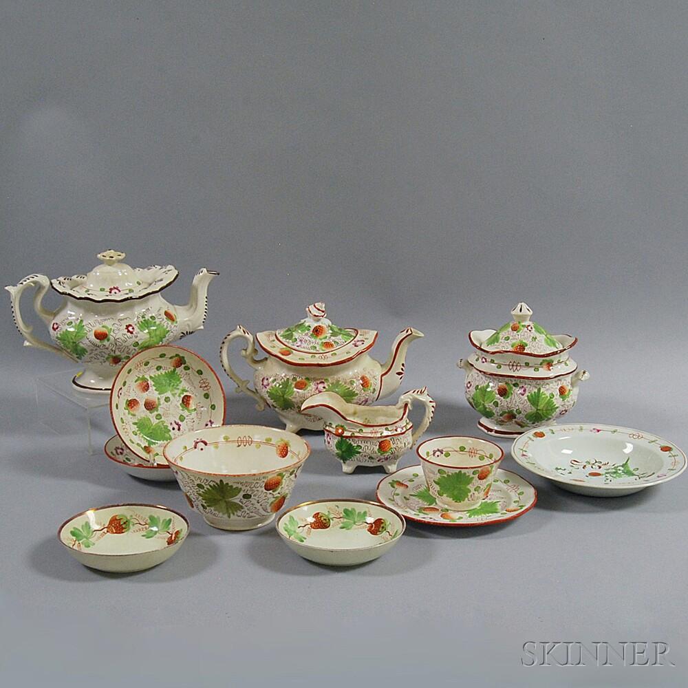 Twelve Pieces of Assorted Strawberry-pattern Creamware