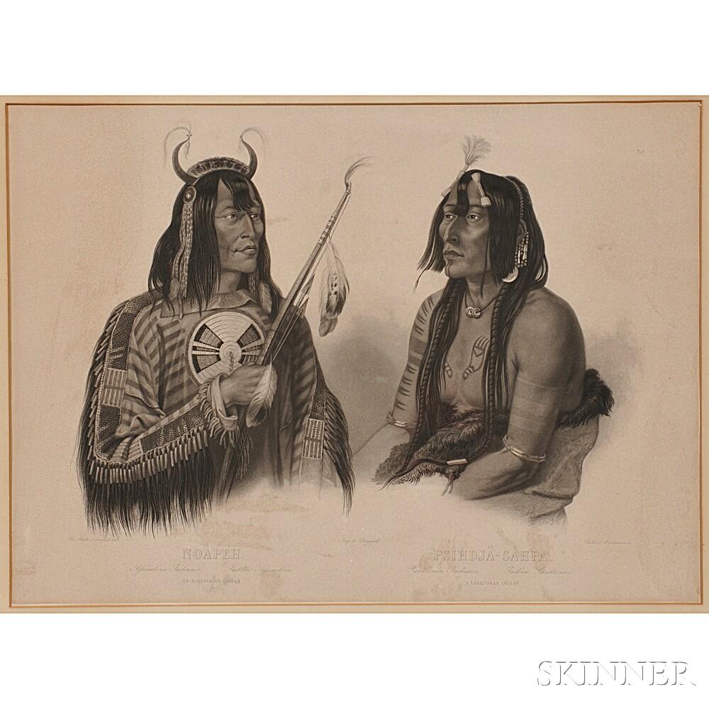 Bodmer, Karl (1809-1893) Noapeh. An Assiniboin Indian / Psihdja-Sahpa. A Yanktown Indian.   Tableau 12.