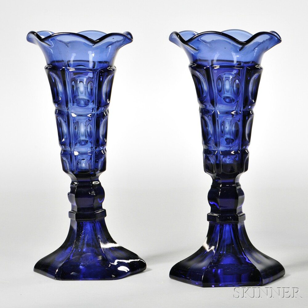 Pair of Dark Blue Pressed Glass Three-printie Block Pattern Vases