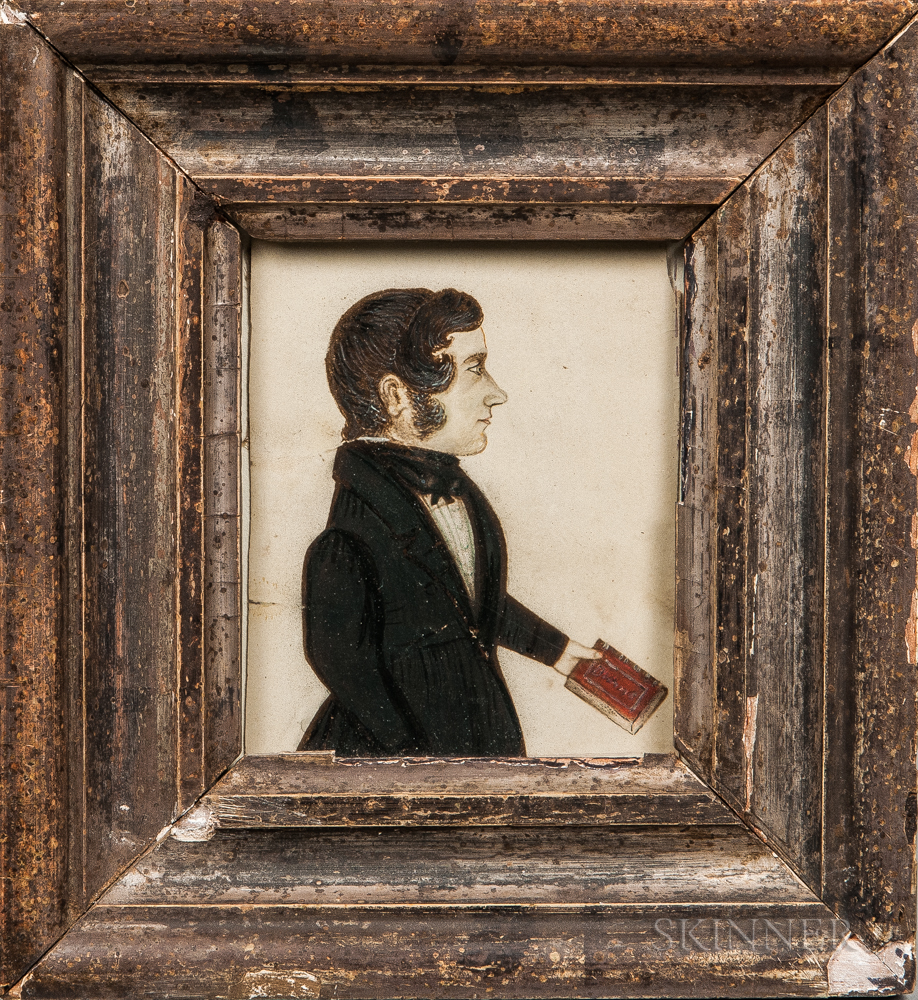 American School, 19th Century      Profile Portrait of a Gentleman Holding a Red Book