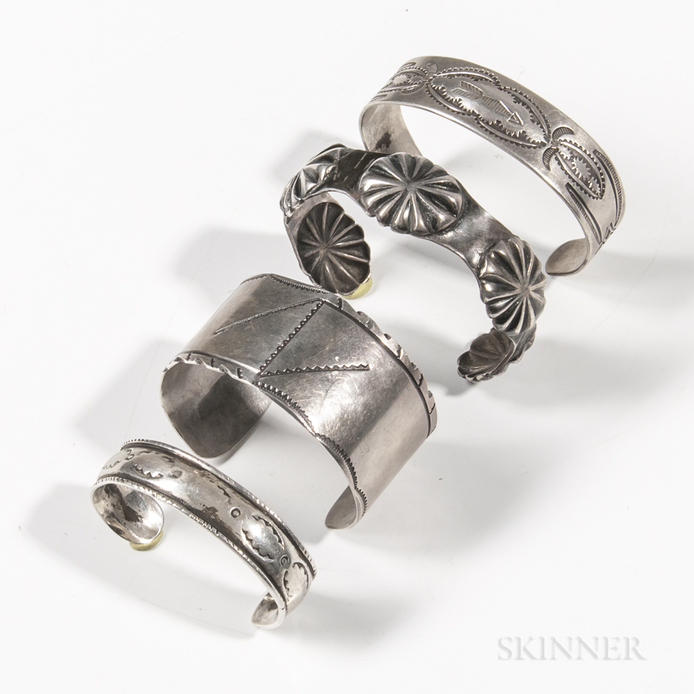 Four Navajo Silver Cuff Bracelets