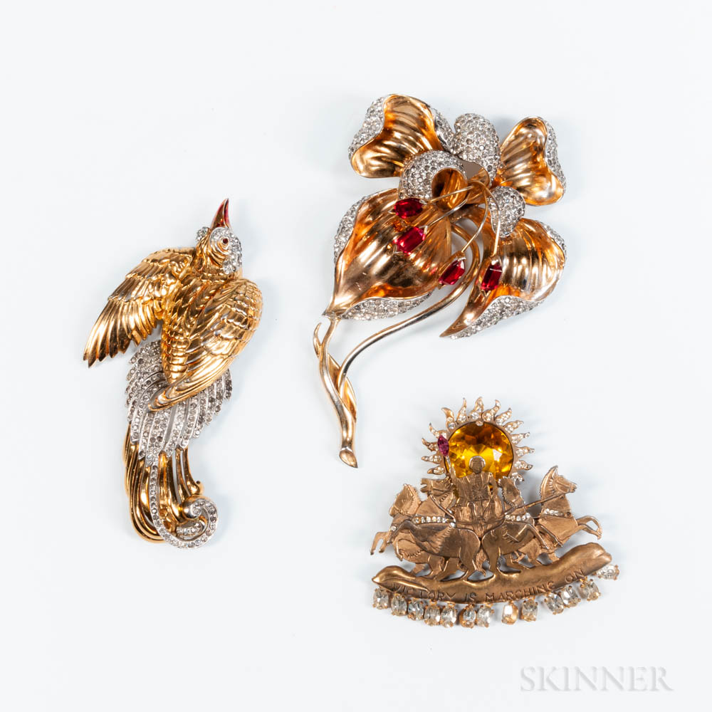 "Two Vintage Reja Costume Brooches and an Unsigned ""Victory is Marching On"" Brooch"