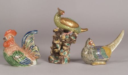 Three Stoneware Birds
