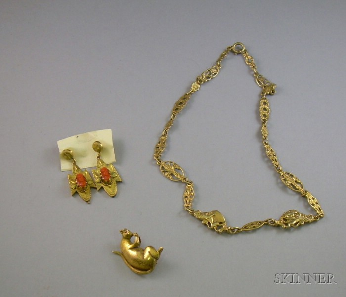 Late Victorian Coral and Gilt Brass Earrings, a Gold Plate on Silver Venetian Necklace, and an 18kt Gold Mouse Brooch.