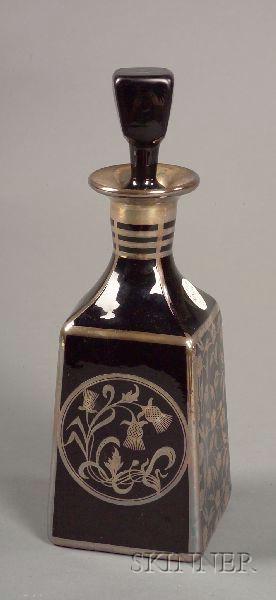 Sterling Overlay Black Glass Decanter