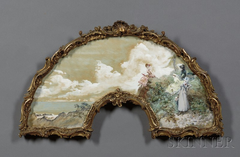 Georges Clairin (French, 1843-1919)      Fan Design Depicting Fashionable Ladies by Seaside Cliffs.