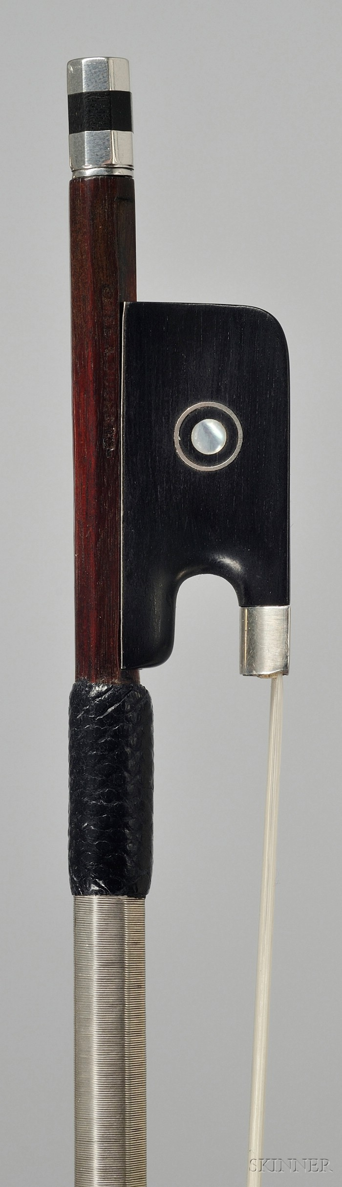 French Silver Mounted Viola Bow, Emile-Auguste Ouchard