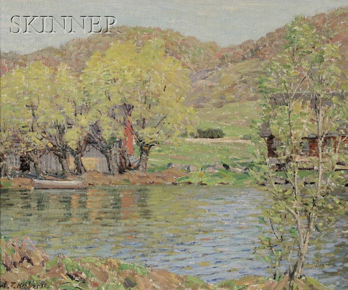Aldro Thompson Hibbard (American, 1886-1972)      View of a Lakeshore in Spring