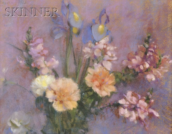 Laura Coombs Hills  (American, 1859-1952)      Still Life with Irises, Snapdragons, and Carnations