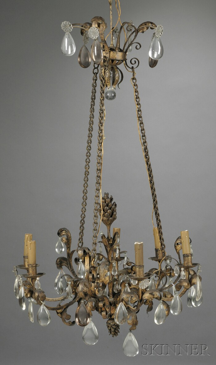 Louis XV-style French Provincial Six-light Gilt-metal and Crystal Chandelier