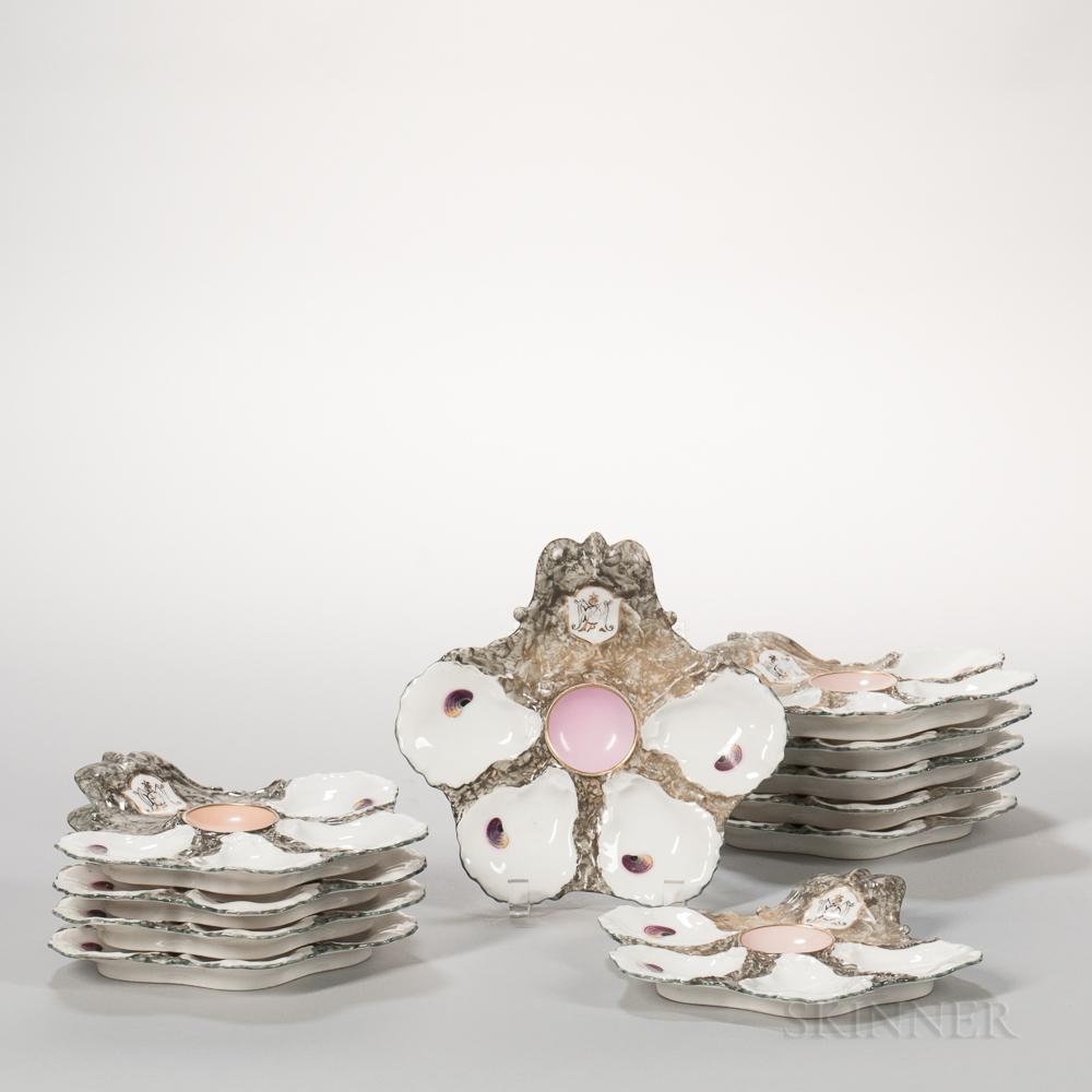 Set of Eleven Limoges Porcelain Oyster Plates