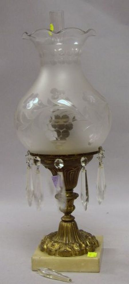 Etched Frosted Colorless Glass and Gilt Brass Astral Lamp with Marble Base.