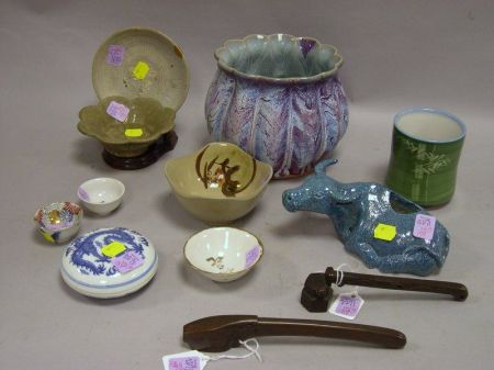 Ten Pieces of Assorted Asian Ceramics and Two Bronze Pen Cases.