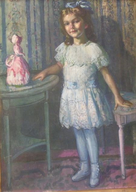 Hungarian School Oil on Canvas Portrait of a Young Girl