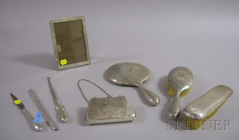 R. Wallace Eight-Piece Sterling Silver Dresser Set.