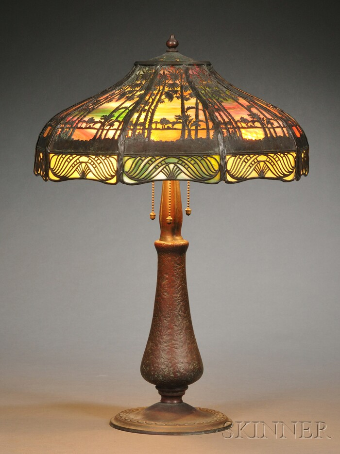 Tropical Sunset Table Lamp Attributed to Handel