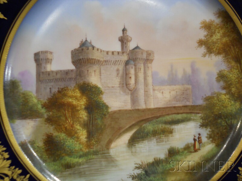 Six Hand-painted Sevres Porcelain Luncheon Plates