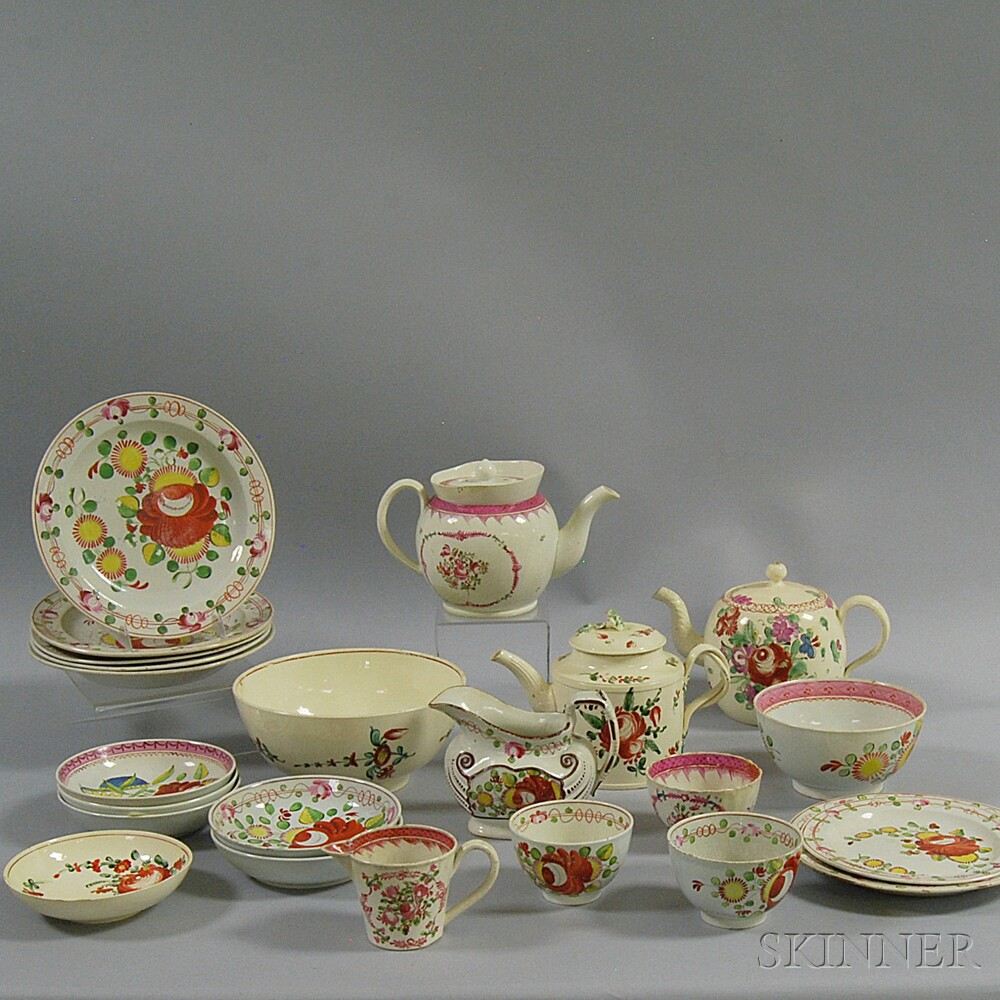 "Twenty-three Pieces of ""King's Rose"" Creamware"