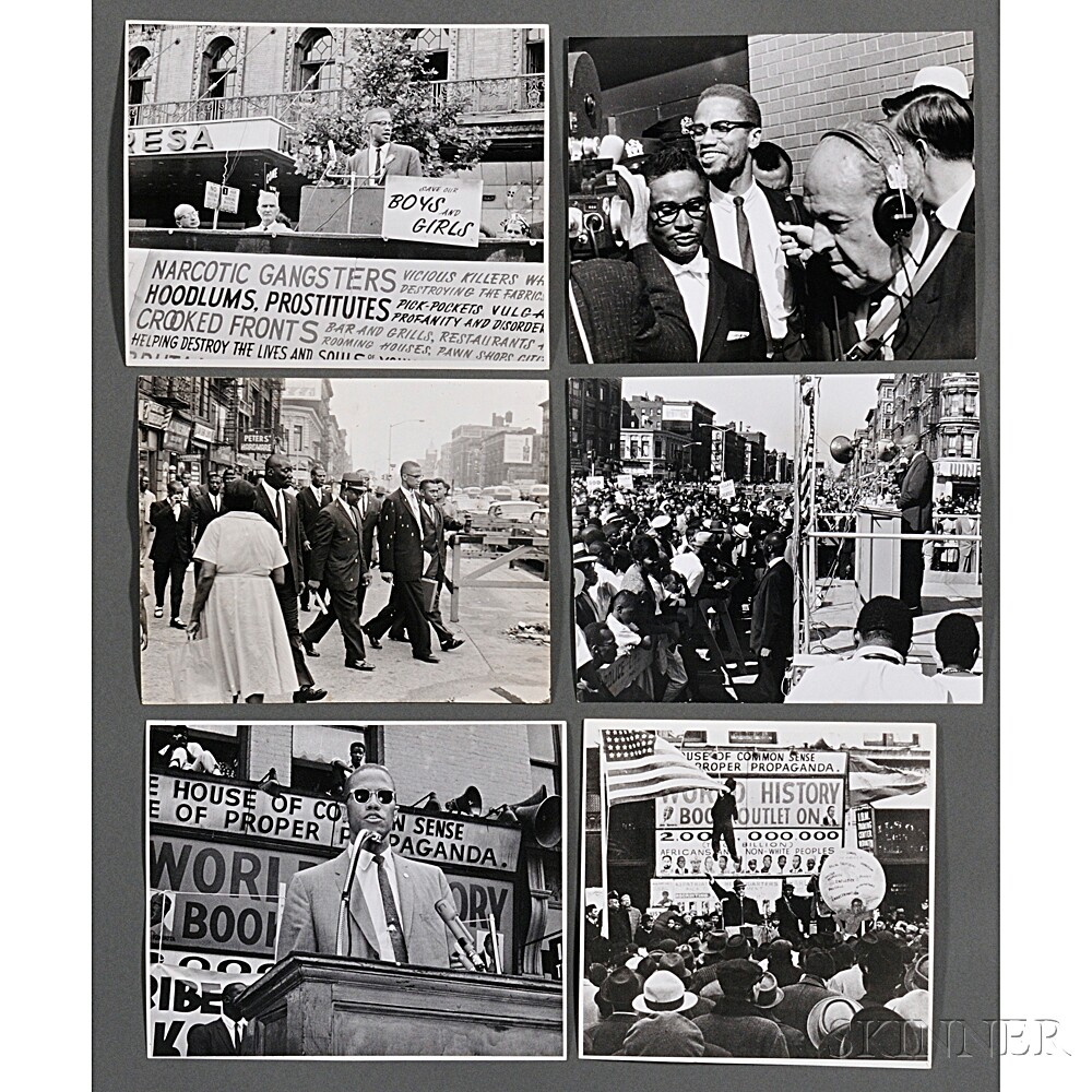Malcolm X (1925-1965) Thirteen Photographs Taken Speaking at Rallies by Robert Haggins (1922-2006)