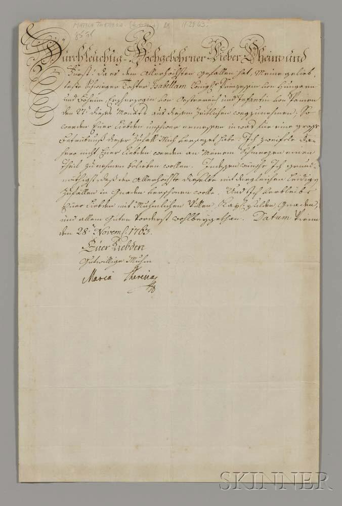 Maria Theresia Walburga Amalia Christina (1717-1780) Secretarial Letter Signed, Vienna, 28 November 1763.