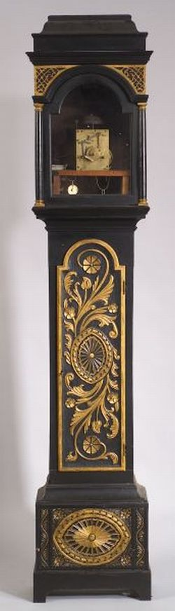 British Georgian Carved, Ebonized, and Parcel-gilt Tall Case Clock