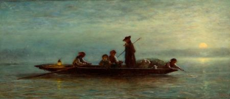 James Crawford Thom (American, 1835-1898)    The Night Crossing by Ferry
