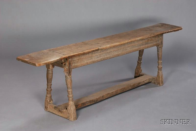 English Jacobean Oak Long Bench