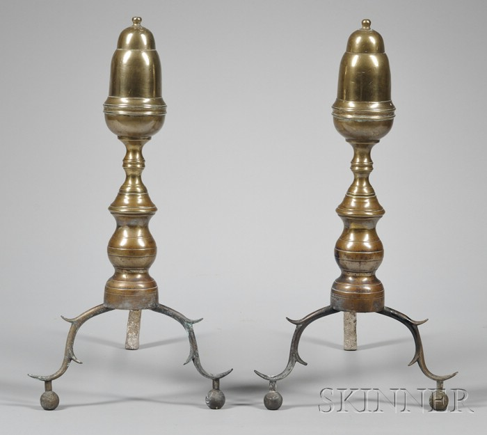 Pair of Federal Acorn-top and Turned Brass Andirons