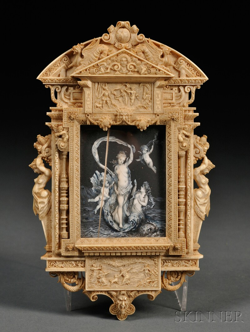 Miniature Painting in Carved Ivory Frame