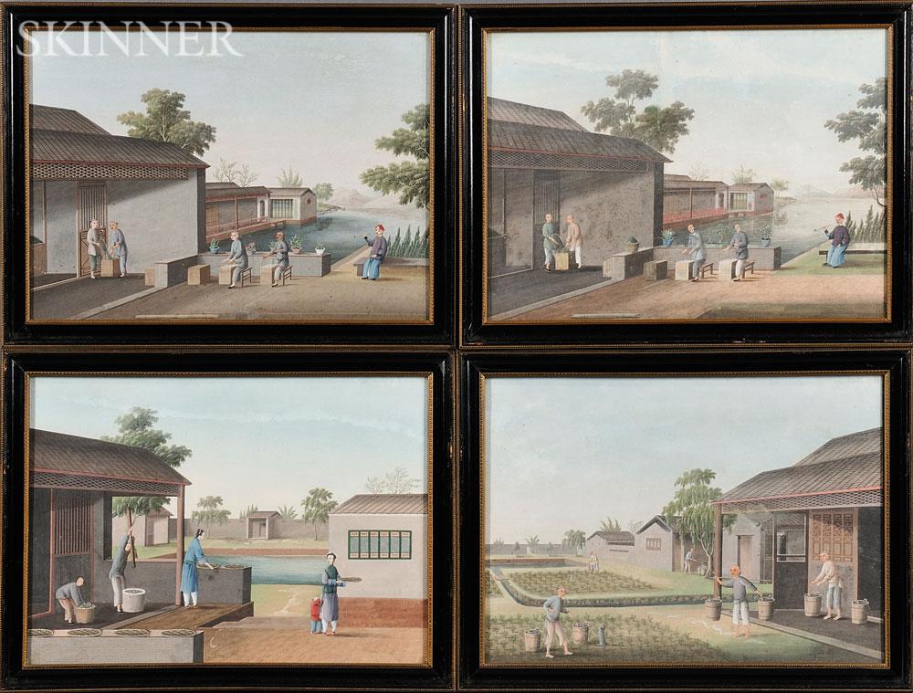 Four Export Gouache Paintings