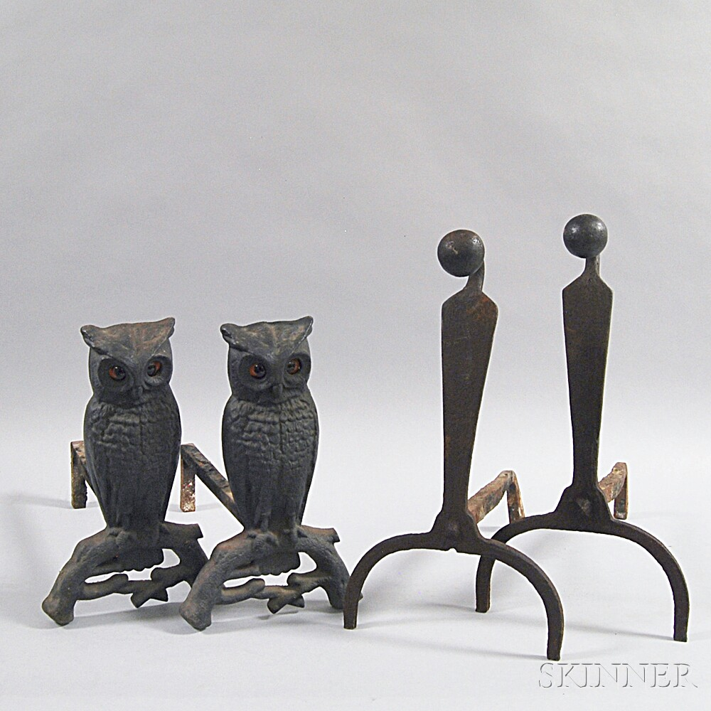Two Pairs of Iron Andirons