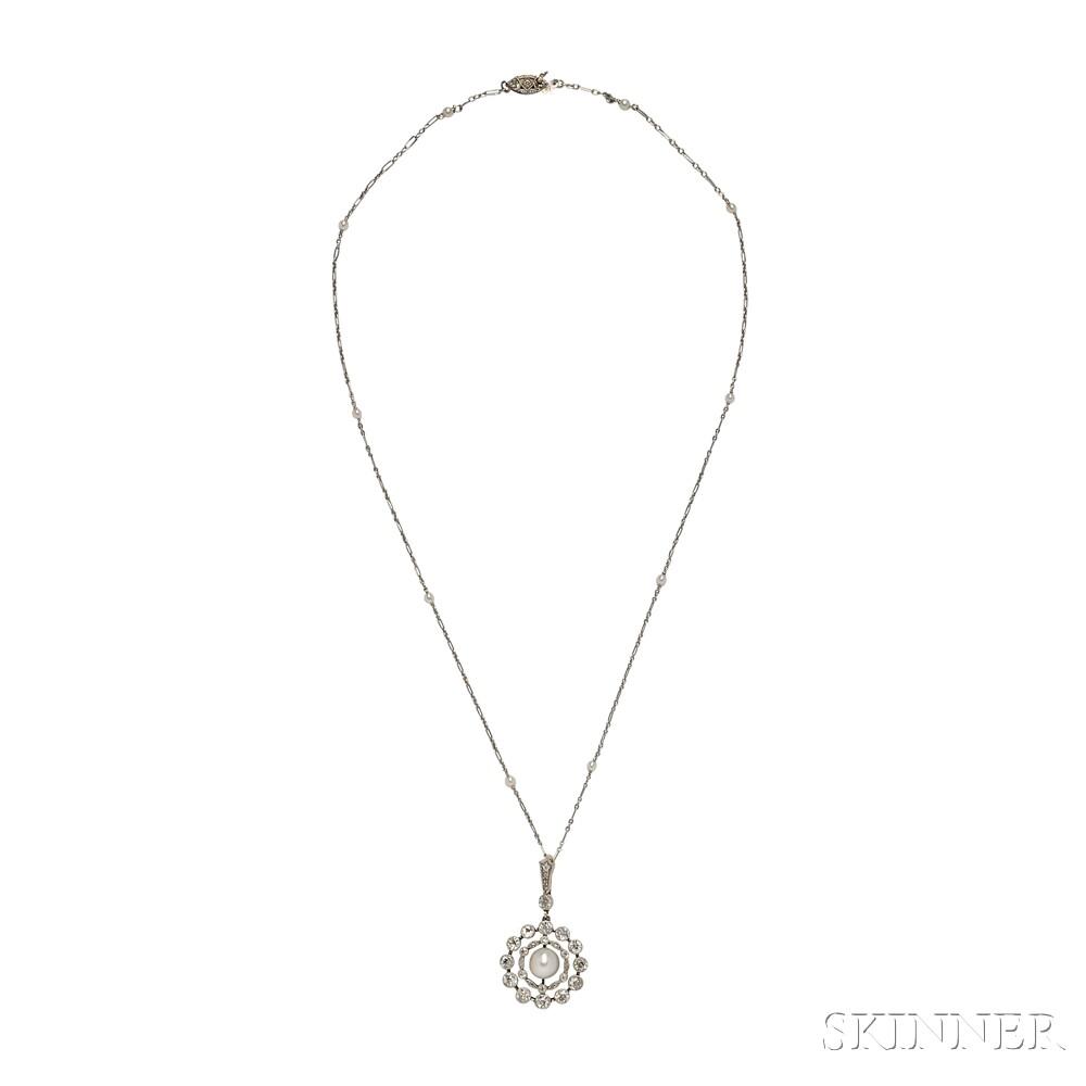 Edwardian Cultured Pearl and Diamond Pendant