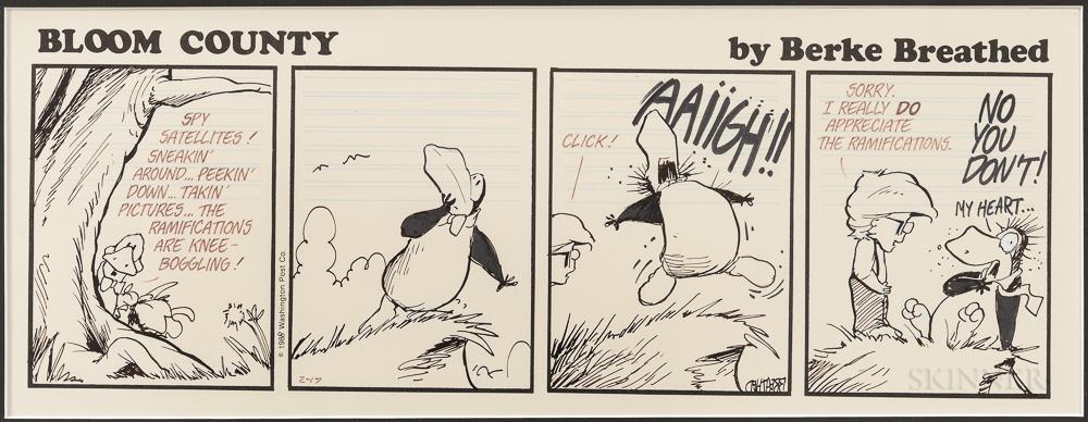 Breathed, Berke (b. 1957) Three Original Bloom County Cartoon Strip Drawings, 1988-89.